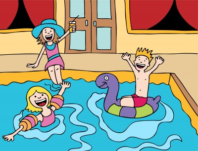 clipart of kids playing in pool