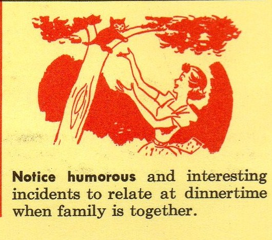 1956 Illustration of woman coaxing a kitten out of a tree