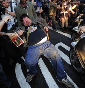 Stupid Fat Guy Protesting