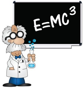 Cartoon of Einstein calculating math