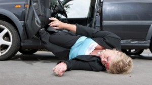woman in an cheesy auto accident