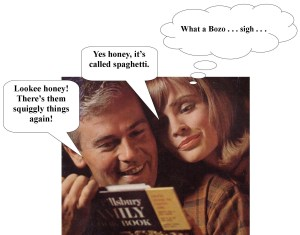 man and woman enjoying Pillsbury Cookbook together