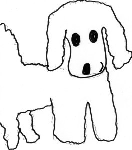 drawing of a dog that might be a cocker spaniel or a poodle
