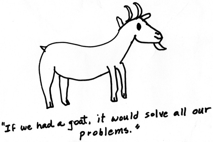 a drawing of a goat with a Robert Benchley quote