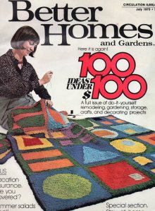 Woman sewing together a rug
