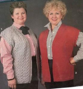 Full Figured knitted vests Linda Vernon Humor