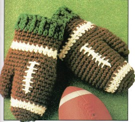 "Crocheted Football Mitts. Why didn't they ever ""catch"" on? Why?"