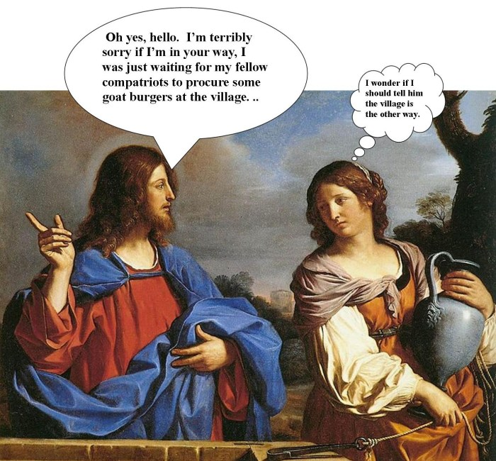 The Bible According to Gregory, Linda Vernon Humor, Jesus and Samaritan Woman humorous bible stories