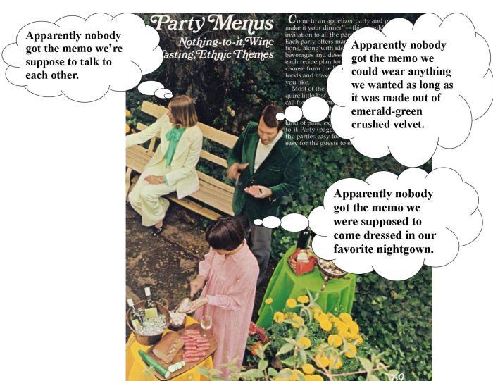 seventies party linda vernon humor