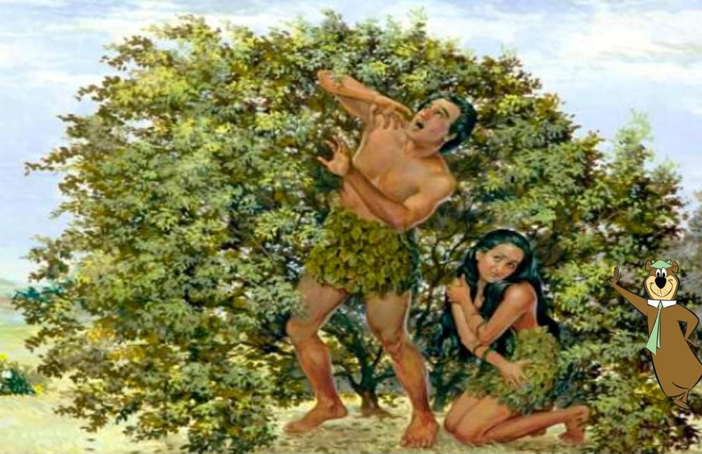 Adam and Eve with a bear behind
