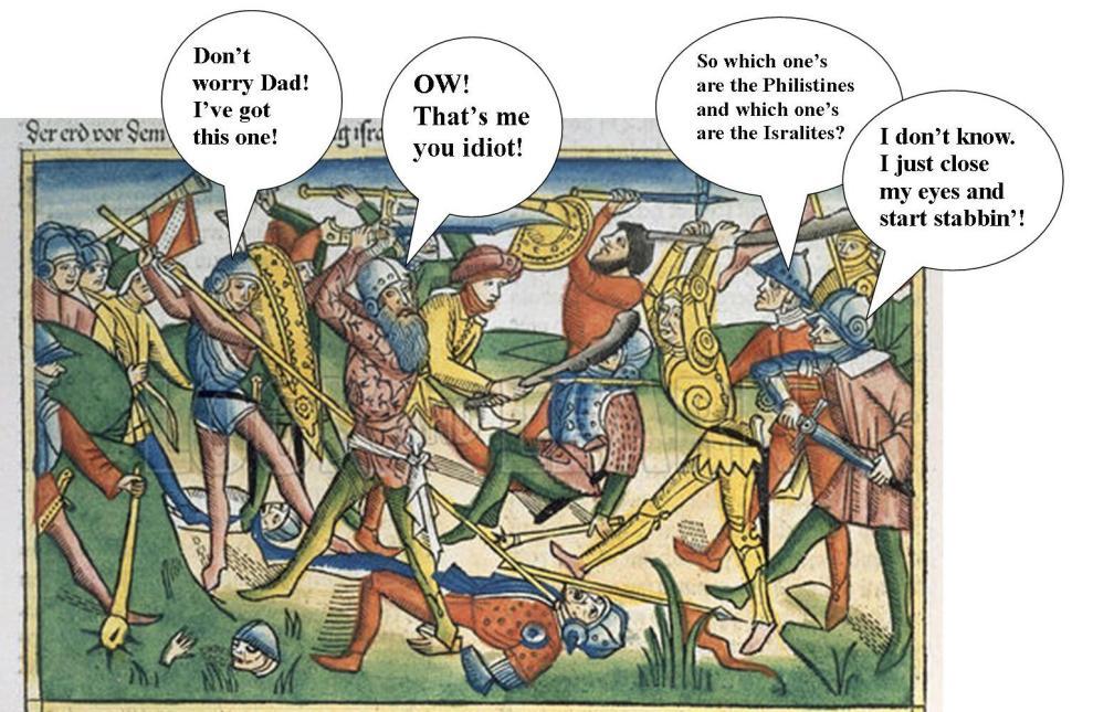 Israelites and the Philistines on the battlefield