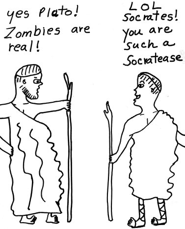 Plato and Socrates discussing Zombies