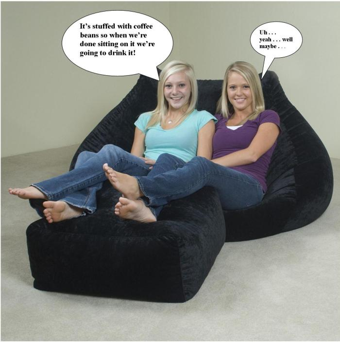 girls in coffee bean bag chair